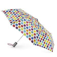 """Totes Classics 3 Section Automatic 43"""" Arc Open Umbrella , Big Rainbow Dot"""