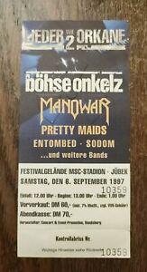 böhse onkelz LIEDER WIE ORKANE 2 Jübek 06.09.1997 Original Ticket Sammlerticket