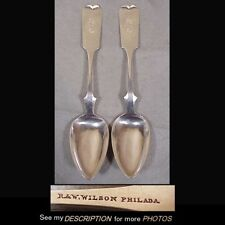 2 Antique 1825-41 R & W Wilson Coin Silver Fiddleback Serving Spoons