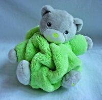 Kaloo Teddy Bear Grey Green Plume Plush Soft Toy Comforter White Hugs Chubby