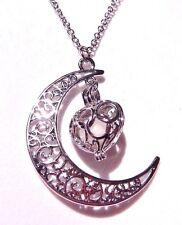 SILVER CRESCENT MOON HEART Glow in the Dark scrolling filigree dream necklace L1
