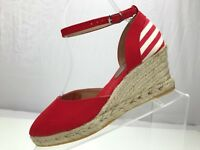 Brooks Brothers Wedge Sandals Ankle Strap Canvas Heels Spain Womens 7.5 US Red