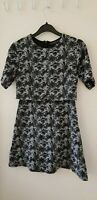 TOPSHOP Petite Ladies Black/White Textured Short Sleeve Mini Dress Size 6 LD636