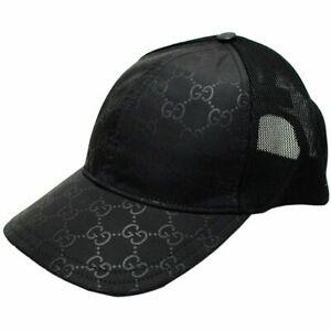 New Gucci Women's Black GG Nylon Large Baseball Cap Hat Adjustable Snapback