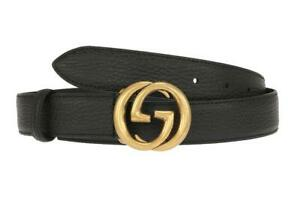 NEW GUCCI CURRENT  LADIES BLACK LEATHER DOUBLE G BUCKLE BELT  115/46