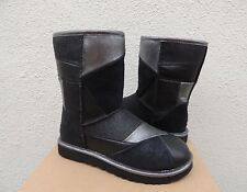 UGG BLACK CLASSIC GLITTER PATCHWORK LEATHER/ SHEEPWOOL BOOTS, US 7/ EUR 38 ~NEW