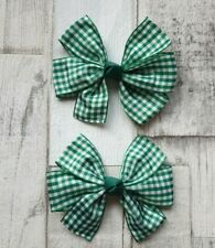 Handmade summer Hair Bow Green and White Gingham Clip set Accessories/School