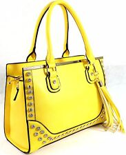 Womens Diamante Designer Leather Style Framed Tassel Shoulder Bag Handbag Yellow