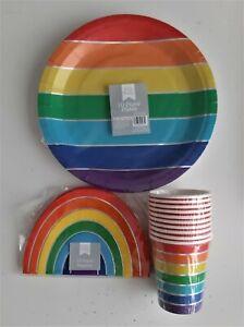 RAINBOW PARTY SET 10 X PLATES 10 X CUPS 15 X NAPKINS BBQ PARTY BIRTHDAY BEACH