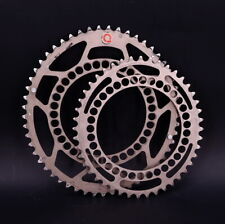 Rotor Q Rings Double Oval Chainring Set 130 BCD 11 Speed Silver 44t / 53t