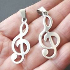 "1.5"" Polished stainless steel Treble Clef Charm pendants-music symbol charm"