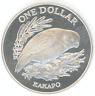 New Zealand $1 1986 KAKAPO BIRD Proof silver coin w/Box+