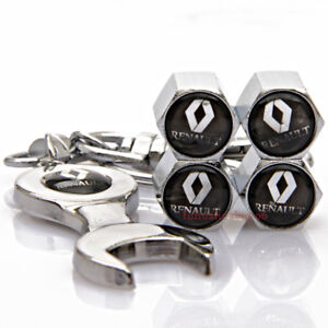 Car Accessories Tire Valve Caps Valve Dust Covers Wrench Keychain For Renault