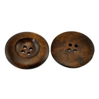20PCs Dark Coffee 4 Holes Round Wood Sewing Buttons 35mm N5M4