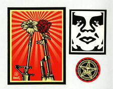 OBEY GIANT Shepard Fairey 3 STICKER LOT Set #3 BRAND NEW Flower Gun Rose Peace