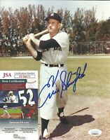 HOF Enos Slaughter Signed Auto 8x10 Photo JSA COA New York Yankees