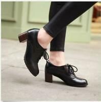 Ladies Vintage Womens Lace Up Oxfords Brogue Block Mid Heels Creeper Shoes Pumps