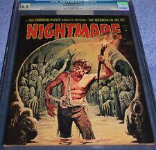 NIGHTMARE #11 CGC 8.5 CLASSIC BLACK DEMON SKULL HORROR COVER. SKYWALD. RARE