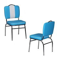 Chaise de Salle à Manger Américain Rêve 50er Années Rétro Bleu Blanc