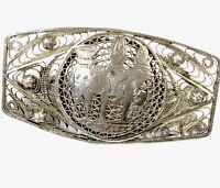 Vintage Large Egyptian Filigree Silver Brooch - GIFT BOXED