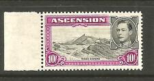 ASCENSION 1938  10/-   KGVI  PICTORIAL  MLH  P13 1/2   SG 47