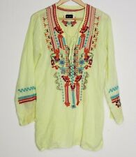 Johnny Was Biya Womens Cotton Embroidered Tunic Yellow Size Small