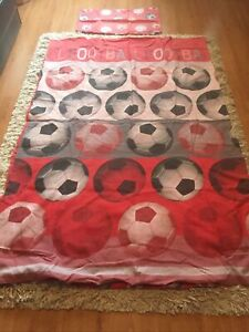 FOOTBALL SINGLE QUILT COVER AND PILLOW CASE