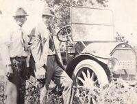 082320 VINTAGE RPPC REAL PHOTO POSTCARD TWO MEN AND AUTO PRINCEVILLE IL 1916
