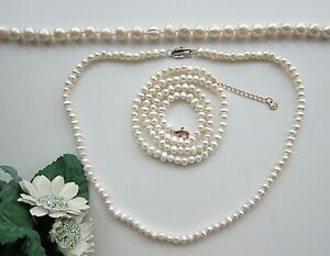 "Pearl Choker Necklace White Freshwater Cultured Pearls, 16"" 17"" & 18"" long."