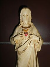 ANCIENNE STATUE RELIGIEUSE/JESUS SACRE-COEUR/XIXè/PLATRE PEINT/H.54cm/CHRIST/IHS
