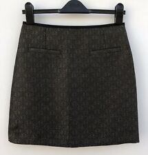 "NWOT LIMITED COLLECTION M&S Black & Gold Short Skirt Size 6 Length 17"" Zip Death"