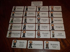Composers and Their Most Popular Composition Picture Word Flash Cards. Music.