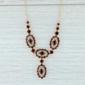 """13.6ctw Vintage Garnet Halo Lariat Necklace 18k Gold Ornate Filigree 17.5"""""""