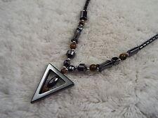 Hemetite Triangle Pendant Necklace (A17)