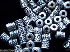 40 pcs vintage silver acrylic beads, cylindrical, 8 mm *