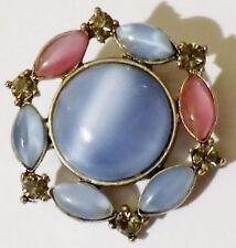 broche rétro bijou vintage couleur argent opaline bleu et rose cristaux 143