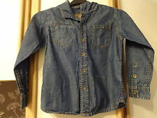 #R03 -Blue Distressed Denim Hooded Shirt  From M&S - Age 9