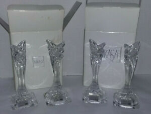 """2 Pairs MIKASA DECO Clear Lead Crystal Taper CANDLE STICK HOLDERS 5.5"""" Slovenia"""