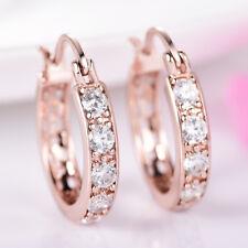 Women Sparkly Swarovski Crystal Rose Gold Filled Hinged Post Round Hoop Earrings