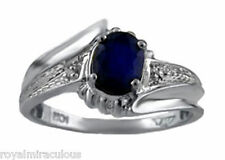 Genuine Diamond & Blue Sapphire Ring Sterling Silver or Gold Plated Silver