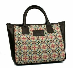Yfenni Leather - Brown Leather & Welsh Oatmeal Tapestry Grab Bag