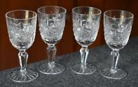 LOVELY VINTAGE S/4 ETCHED CUT GLASS PEDESTAL CORDIAL GLASSES