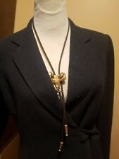 Para Bolo Tie gold tone saddle with brown rope