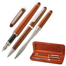 Edles 3 teiliges Holz-Schreibset bestehend aus Kugelschreiber, Füllfederhalter..