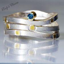Lori Gottlieb Artful Home Designer Wave Blue Diamond Yellow Gold Silver Ring 9