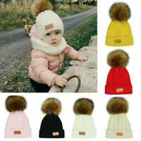 Letter Baby Hat Beanie Cap Pompom Winter Boy Girl Hat Kids Warm Knitted Toddler