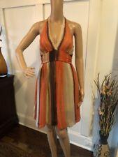 BCBG MaxAzria Silk Halter Dress Beige/Orange-Multi Sz XS *EUC