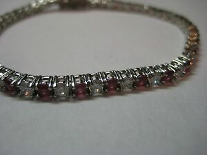 Tennis Bracelet with 7.00ctw Created Light Red & White Sapphire is 7 inches long
