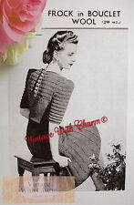 Vintage 1930s Knitting Pattern Exquisitely Detailed Lady's Bouclet Dress NO P&P!