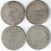 4 X NEWFOUNDLAND TWENTY CENTS VICTORIA 925 SILVER COINS 1865 1872H 1881 1882H